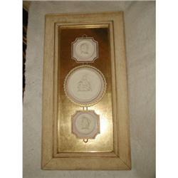 Three Plaster Intaglios Framed Reverse Glass #2353727