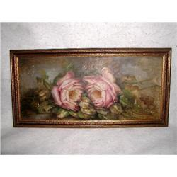 Victorian Rose Painting On Canvas Framed 19th C#2353743