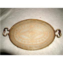 Dresser Tray Hand Made Lace Insert France 19th #2353747
