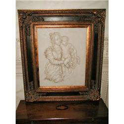 Framed Marble Carving Mother Child 19th C #2353755