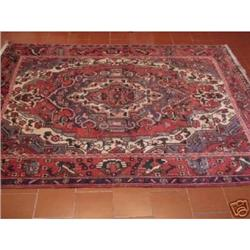 ANTIQUE HAMADAN HAND KNOTTED AREA RUG 6.7x5 #2353793