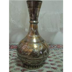 Copper and silver work antique vase Saudi #2353803