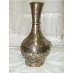 Copper and silver work antique vase Saudi #2353804