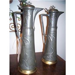 French Art Nouveau Pewter Tankards #2353835