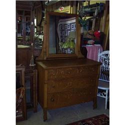 American Golden Oak Dresser with Mirror #2353891