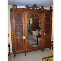 French Carved and Caned Oak Trpile Door Amroire#2353927