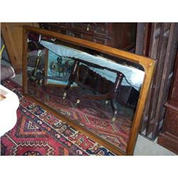 Large Walnut Framed Beveled Mirror #2353931