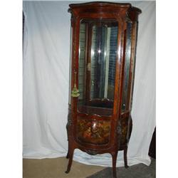 French Walnut Hand Painted Vitrine Ca. 1880 #2353943