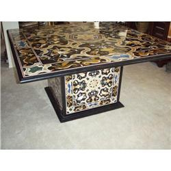 Indian, Pietra dura marble Dining size table, #2353945