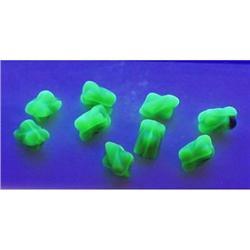 500 VINTAGE VASELINE AQUA GLASS BEADS 9mm #371 #2353957