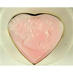 ESTATE GOLD RING PINK CAMEO HEART  #2353974