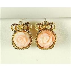 GOLD EARRINGS CORAL ROSE DIAMOND #2353975