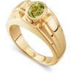 GENTS GOLD RING PERIDOT DIAMOND #2353982