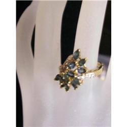 Elegant Marquise Navy Blue Spray Sapphire & #2353992