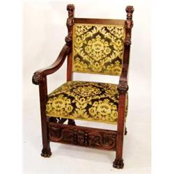BE 19th Century Carved Wood Arm Chair #2354007