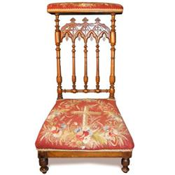 BE 19th Century Needlework Prayer Chair #2354009