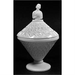 LILLIAN VII Milk Glass Art Deco Powder Jar #2354019