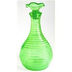 Hocking Green Depression Glass Ribbed Decanter #2354024