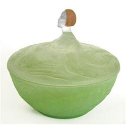 LIZ Green Satin Glass Figural Powder Jar #2354026