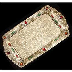 Antique Jeweled Filigree Bronze Dresser Tray #2354031