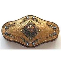 APOLLO Glass Jeweled Brass Glass Makeup Compact#2354033