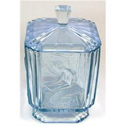Sowerby Art Deco IceBlue Glass Vanity Jar #2354038