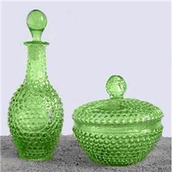 Green Hobnail Perfume Bottle & Powder Jar #2354045