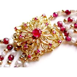 Ruby Clasp Necklace- Pearls, Gold, Garnet Beads#2367487