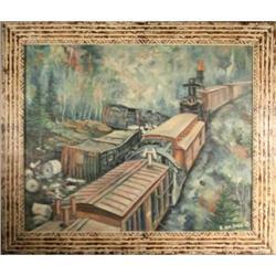 Landscape, oil on panel, ?Train Wreck, 1971?, #2367491