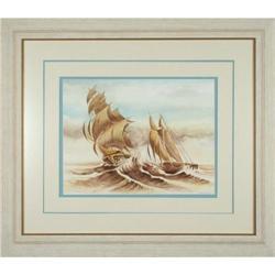 MacIssac ORIGINAL watercolor sailboats maritime#2367492