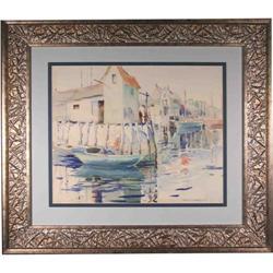 Contemporary Watercolor Charman Docked Boats #2367497