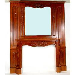 VICTORIAN FIREPLACE MANTLE -  CARVED MAHOGANY #2390535