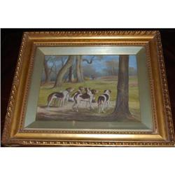 "Antique Oil on Canvas ""The Hunt"" dogs Painting,#2390538"