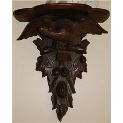Pair Antique Carved Black Forest Eagle Sconces #2390540