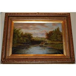 Large Lake Landscape Painting Oil on Canvas  #2390541