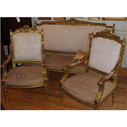 Gilt Italian Carved Settee and Pair Arm Chairs #2390542