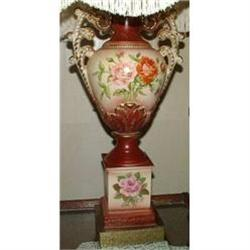 "Meissen Style Lamp Large 35"" Rose Design #2390543"