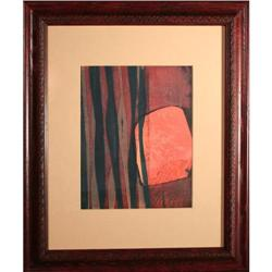 Modern Abstract Original Serigraph Orange/Black#2390560