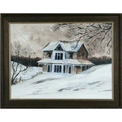 Winter Scene Landscape Original Painting #2390562