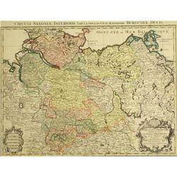 Antique Map Germany Saxony Jaillot 1720 Basse #2390572
