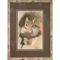 Squirrel Peeking, Original Pastel by R. Brown #2390581