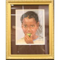 Girl Eating Apple Contemporary Figure- Brown  #2390582