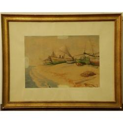 WATERCOLOUR. BOATS ON THE SHORE #2390587