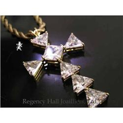 RHJ Cubic ZirconiumTrillion Cross in Solid 18k #2390599