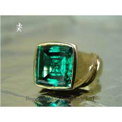 RHJ Cushion Cut Simulated Emerald (YAG)  #2390601