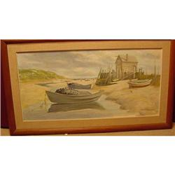 OIL ON BOARD OF MAINE SCENE OF BEACHED DORIES #2390626