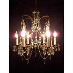 Beautiful 6 Light Brass and Crystal Chandelier #2390670
