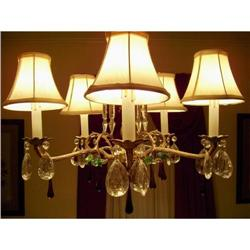 Brass 5 Light Crystal Chandelier with Shades #2390671