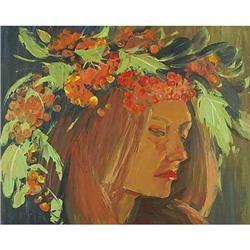 Girl in a rowan's wreath  impressionism oil #2390689