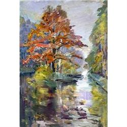 """""""Oaklet. A pond"""" oil in impressionism style. #2390690"""